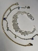 Lot Of Three Silver And Gold Rhinestone Beaded Bracelet Vintage