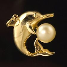 Wonderful Solid 14K Yellow Gold & Pearl Marine Dolphin Estate Charm, Pendant