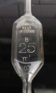 25ml Vintage Casselle Brand Glass Volumetric Pipette class B @ 20deg RARE Lot2