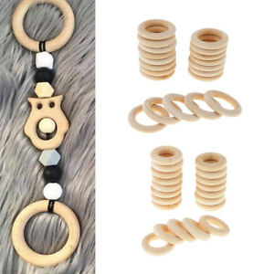 40pcs Set Unfinished Natural Wooden Round Rings DIY Necklace Jewellery Craft