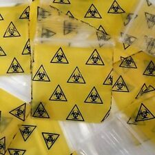 Ziplock zip lock bags Small 100 pcs Apple Clear BIOHAZARD  38mm x 38mm 1515