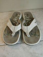 Clarks California Off White Man Made Wedge Flip Flop Sandals Women's Size 7