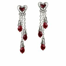 Alchemy Gothic Bleeding Heart Pewter Earrings E272
