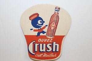 Vintage 1930's Orange Crush Soda Pop W/Crushy 2 Sided Hand Fan Sign