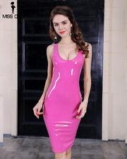 Robe laque robe L 38/40 Vinyle Dress pvc dress pink (lkz-2-l-p)