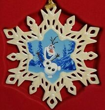 "Lenox Ornament - 4"" Olaf Snowflake White Blue"