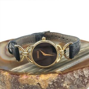 Vintage Ladies Gucci 6000L 18k Gold Plated Women's Watch With Black Dial OTT NR