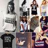 Women Letter Printed Short Sleeve Shirt Blouse Ladies Summer Casual T-Shirt Tee
