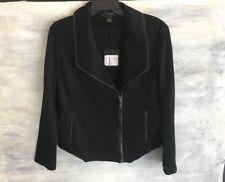 NEW! ST. JOHN K61KOEO Wool Blend LEATHER Trim MOTO Motorcycle Jacket, 6 - Black