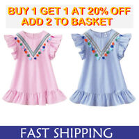 2Color Summer Toddler Baby Girl Party Dress Tassel Sundress Clothes Age 1-7 Year