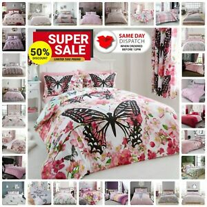 Pink Duvet Cover Set Reversible Floral Bedding Quilt Single Double King Bed Size