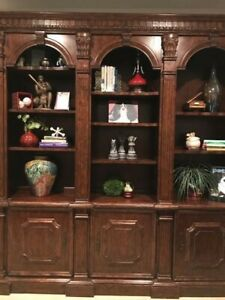 Slightly Used Philippe Langdon 3 Arched Solid Wood Bookcase with Lighting.