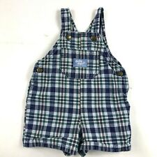 Baby Bgosh Oshkosh Shorts Overalls Sz 12M Blue Green Plaid Vestbak Usa