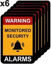 Alarm Warning Sticker, Home Security Vinyl Decal, Burglar House Security Sign x6