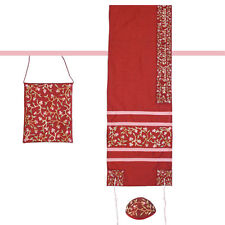 Silk Embroided Women Tallit Tallis Talit RED Kosher Israel great for Bat Mizvah