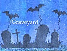 Black Metal Yard Stake Halloween Shadow Stakes  Scene  Graveyard  NIB
