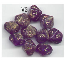 NEW RPG Dice Set of 10D10 - Gold Mist Blue