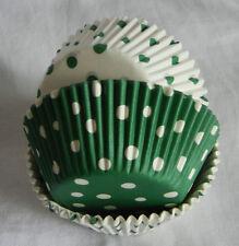 75 mixed xmas green dot/ xmas green dot white cupcake liners baking cup muffins