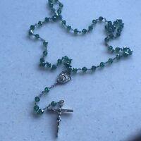 Vintage Rodell Sterling Silver Greenish Blue Beads Catholic Prayer Rosary Beads
