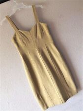 NWT BANANA REPUBLIC 4 GOLD KNIT DRESS Cocktail Metallic EMPIRE Sheath XS S Lined