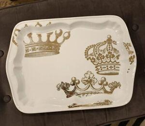 "Rosanna Inc Porcelain WHITE Gold Royal Crowns Vanity Tray 16"" X 11"""