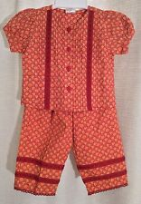 NEW Baby Girls' CORNELLOKI Size 0-6M Spice RED Daisy FLORAL Cotton PANT SUIT Set
