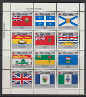 CANADA #821-832 17¢ Provincial & Territorial Flags UL Inscription Pane MNH