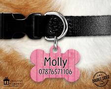 Personalised Pet Tag - ID Tag - Dog Tag - Bone Tag - Pink Wood