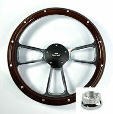 "14"" Billet Wood Steering Wheel Bowtie Horn & Adapter For 1974-1994 Chevy Truck"