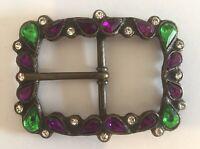 Ladies Vintage Large Multicoloured Crystal Belt Buckle For 35mm Wide Belt Strap