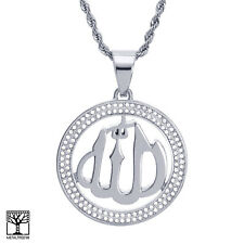 """Men's Stainless Steel Allah Sign Medallion Pendant 24"""" Chain Necklace SCP 885 S"""