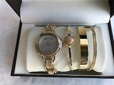 ANNE KLEIN AK2750LP 4-Piece Mixed Watch & Swarovski Crystal Studded Bracelet Set