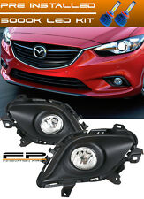 LED + 2014-2015 Mazda 6 Sport Sedan 4-Door Clear Driving Fog Light Complete Kit
