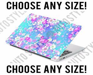 Blue Floral Pink Flowers Laptop Skin Decal Sticker Tablet Skin Vinyl Cover