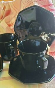 Arcoroc France OCTIME set of six cups and saucers