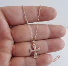 CROSS NECKLACE PEDANT W/ LAB DIAMONDS/ 14K ROSE GOLD OVER 925 STERLING SILVER
