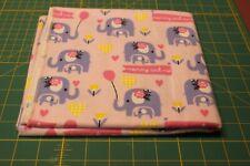 "Handmade  Flannel Receiving / Swaddle blanket~~ELEPHANTS/PINK~~36"" x 36"""
