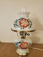 Vintage Gone With The Wind Hurricane  Milk Glass Table Lamp blue red flowers