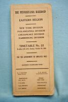 Pennsylvania Railrod Employee Timetable - Eastern Region No. 22 - Oct 30, 1966