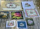 8 Vintage FLORAL Tapestry Needlepoint Designs Chair completed covers OTTERS see