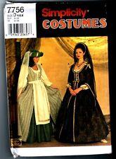 Simplicity 7756 Renaissance Costume Dress Gown Pattern Vintage 1997 Size. 4 6 8