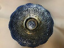 """Fenton - Persian Medallion, Antique Carnival Glass, Cobalt - 9 1/4"""" Footed Plate"""