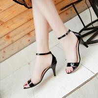 Women Fashion Open Toe Shiny Stilettos Mid Heel Ankle Strap Sandals Casual Shoes