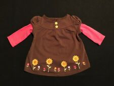 NWT Gymboree Girls Sunflower Smiles Brown Button Top Size 3-6 M