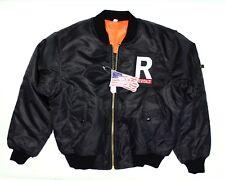 NWT - ROTHCO Men's MA-1 Black/Orange FULL ZIP FLIGHT JACKET - M
