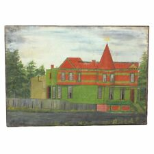 Antique Folk Art Victorian House Portrait Oil on Canvas Painting Dated 1888 AAFA
