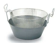 Friggitrice pentola padella in ferro 20/10 per friggere con cestello e manici 52