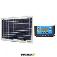 Kit pannello Solare Fotovoltaico 10W 12V Regolatore PWM 10A ricarica batteria ca