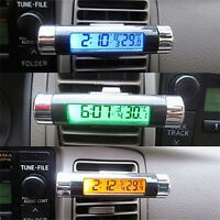 Hot ! Dual Purpose Car Air Vent Clip-on LCD Blue Backlight Thermometer Clock ep