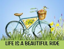 Metal Refrigerator Magnet Life Is Beautiful Ride Bicycle Flowers Saying Blessing